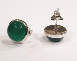 Green Onyx 925 Sterling silver earrings #33518