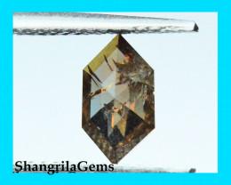 0.66ct 8.55mm Brown Red long hexagon diamond from Botswana