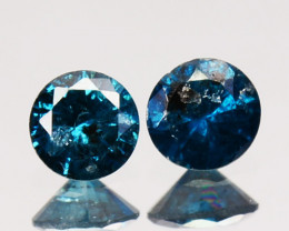~PAIR~ 0.15 Cts Natural Electric Blue Diamond Round Africa