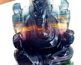 Genuine 745 cts Multicolor Fluorite Ganesha
