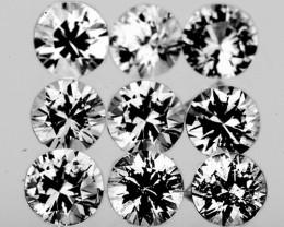 3.00 mm Round 9 pcs 1.18cts White Sapphire [VVS]