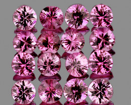2.40 mm Round 16pcs 1.10cts Pink Sapphire [VVS]