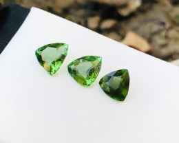 1.70 Ct Natural Greenish Transparent Trillion Cut Tourmaline Gemstones 3 Pi