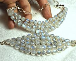 744.0 Moonstone Sterling Silver Bracelet + Necklace - Gorgeous