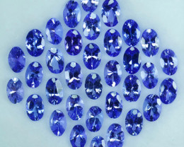 16.86 Cts NATURAL TANZANITE - 6x4mm - OVAL - 34Pcs - PURPLE BLUE - TANZANIA