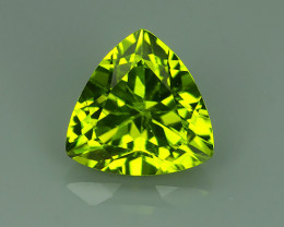 2.10 CTS LUXURY! RICH 8.91 MM TRILLION CUT GREEN PERIDOT PAKISTAN~