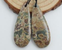 57cts Frog eyes gemstone earrings ,oval earrings ,healing stone C572