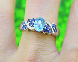 Natural Blue Topaz & Sapphire  925 Sterling Silver Ring 6.5 US SIZE  (S