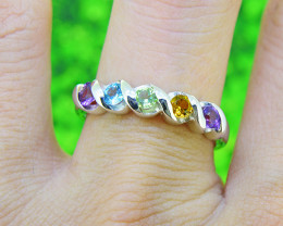 Natural Multi Stone 925 Sterling Silver Ring SIZE 7 (SSR0527 )