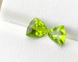 2.70 Ct Natural Greenish Yellow Flawless Peridot Gemstone Pairs