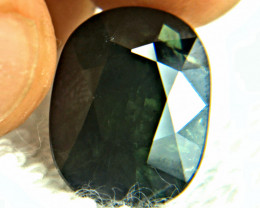 CERTIFIED - 22.48 Carat Natural Dark Green Sapphire - Flawed