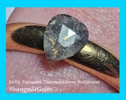 0.58ct 6.33mm Salt Pepper checker cut drop pear diamond 6.33 by 5.24 by 1.5