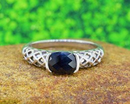 Natural BLACK SAPPHIRE 925 Sterling Silver Ring SIZE10  (SSR0499)