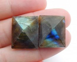 Faceted Labradorite Cabochon Pairs , Labradorite Stones Loose Gemstones Cab