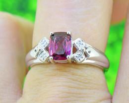 Natural Rhodolite Garnet with Diamonds 925 Sterling Silver Ring SIZE 6 (SSR