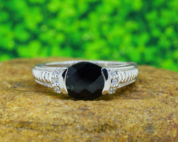 Natural BLACK SAPPHIRE 925 Sterling Silver Ring SIZE 10  (SSR0506)
