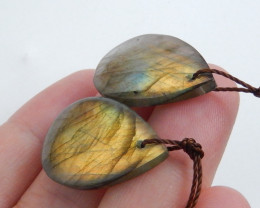 Natural Labradorite Oval Drilled Earrings Bead, stone for earrings making C