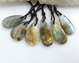 Natural Oval Labradorite Drilled Earrings Bead, stone for earrings making C