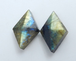 Natural Faceted Rhombus Labradorite Cabochon Beads, Stone For Earrings Maki