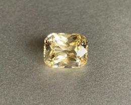 Brilliant Diamond cut - Unheated Yellow Sapphire - 3.46ct Octagon- Eye Clea
