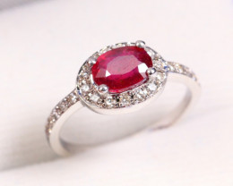 CERTIFIED 9K White Gold Ruby Diamond Engagement Ring
