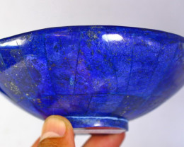 1531 CT Unheated ~ Natural Blue  color Lapis Carved Bowl Special Shape