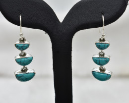 TURQUOISE EARRINGS 925 STERLING SILVER NATURAL GEMSTONE JE1957