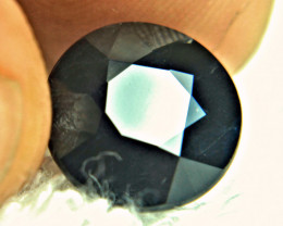 CERTIFIED - 11.12 Round Cut Natural Black Sapphire - Gorgeous