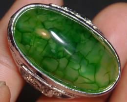 94.85 CT Beautiful GREEN GOBLIN Dragon Skin Agate Ring Jewelry