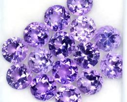 18.66 Cts Natural Purple Amethyst 7 mm Round Cut 15 Pcs Bolivia