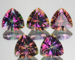 ~RAINBOW~ 4.32 Cts Natural Mystic Topaz 6mm Trillion Concave Cut 5 Pcs Bra