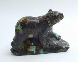 Handmade Carved Turquoise bear Cabochon, Animal Gemstone Decoration H5708