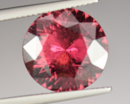 6.93CT 13.7mm ROUND PORTUGUESE CUT HOT PINK COLOR RUBELLITE TOURMALINE