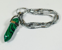 35.0Ct Natural Malachite & 925 Silver Necklace