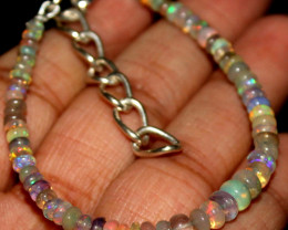 15 Crts Natural Ethiopian Welo Fire Opal Beads Bracelet 239
