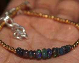 15 Crt Natural Ethiopian Smoked Opal & Pyrite Beads Bracelet 259