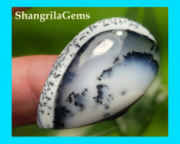 31mm Dendritic Agate Desginer cut drop shape 17ct 31 by 19 by 4.5mm