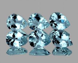 6x4 mm Pear 6pcs 2.00cts Blue Aquamarine [VVS]