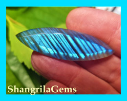 45mm Labradorite Marquise gemstone cabochon 29ct 45 by 14 by 7mm