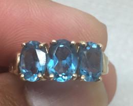 (B11) Cert. $1500 4.0tcw Nat London Blue Topaz Ring 10K YG 2.4gr