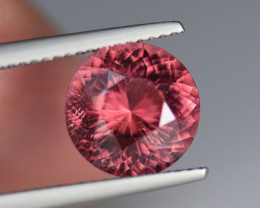 3.63CT 10.15mm SHIMMERING PINK-ORANGE Round Portuguese Cut TOURMALINE