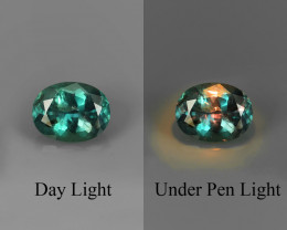 .64CT INTENSE BLUE-GREEN BRAZILIAN ALEXANDRITE changes to Purple Orange Red