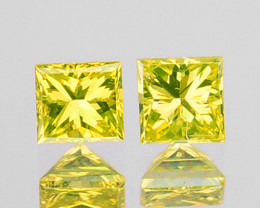 0.13 Cts Natural Sparking Yellow Diamond 2 Pcs Square Africa