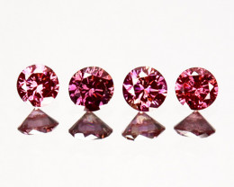 ~SET~ 0.10 Cts Natural Purplish Pink Diamond 4 Pcs Round Africa