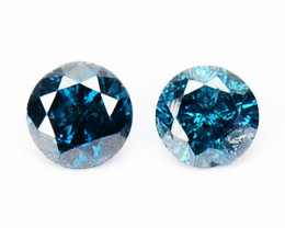 ~PAIR~ 0.12 Cts Natural Electric Blue Diamond Round Africa