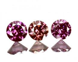 ~SET~ 0.10 Cts Natural Purplish Pink Diamond 3 Pcs Round Africa
