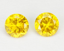 ~PAIR~ NATURAL SPARKLING YELLOW DIAMOND 0.15 Cts ROUND AFRICA