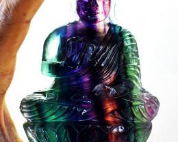 Exclusive : 3160 cts Multicolor Fluorite Buddha