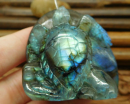 Labradorite carving sea turtle pendant natural stone carving animal lover(G