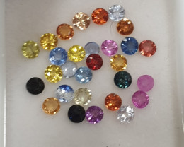 Multi Sapphire Lot Round Brilliant Cut 2.3mm(SKU 57)